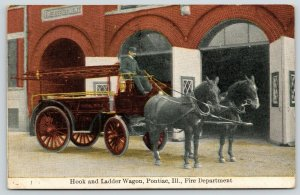 Pontiac IL~Fire Department~Fireman on Hook & Ladder Horse Wagon~c1911 SHARP!