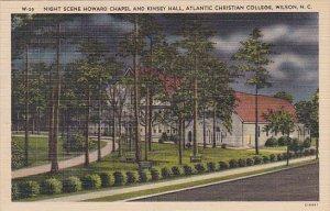 Night Scene Howard Chapel and Kinsey Hall Atlantic Christian College Wilson N...