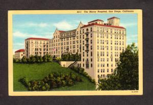 CA The Mercy Hospital San Diego Calif California Linen Postcard