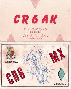 Angola Carmona 2x 1970s African QSL Radio Contact Card s