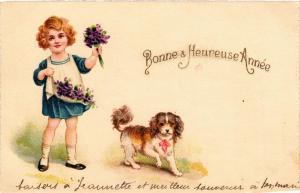 CPA Bonne & Heureuse Année DOGS (727632)