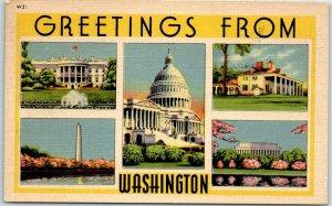 Vintage GREETINGS FROM WASHINGTON D.C. Linen Postcard Multi-View 1951 Cancel