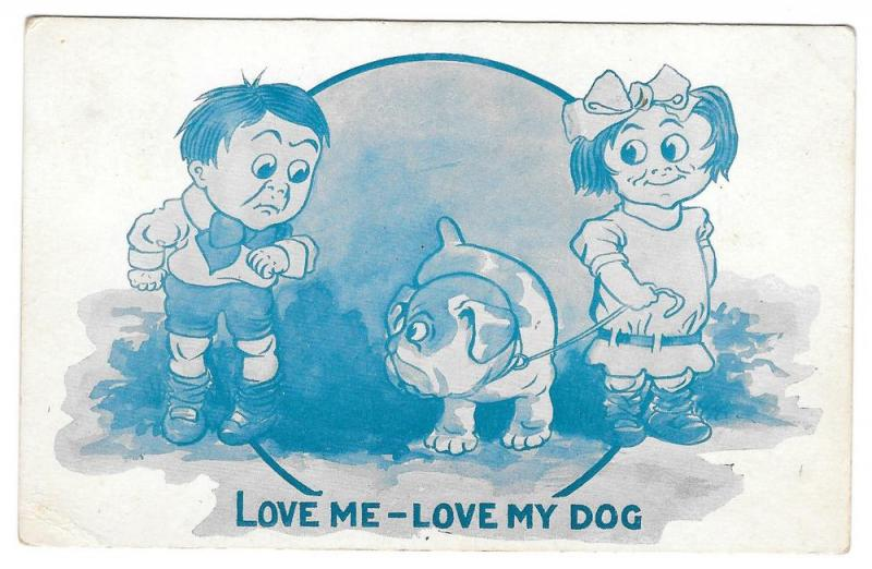 Children Love Me Love My Dog Vintage 1913 Postcard