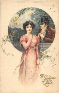 F99/ Valentine's Day Love Holiday Postcard c1910 SILK Pretty Girl Man 20