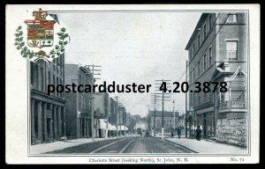 3878 - ST. JOHN NB Postcard 1900s Charlotte Street. Patriotic Crest