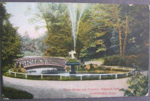 Rustic Bridge and Fountain Elizabeth Park Hartford CT Richter Bros Postcard 1910