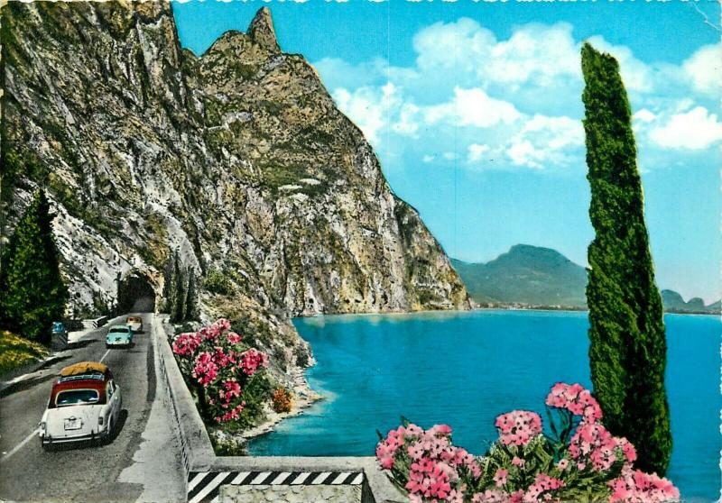 Italy Lago di Garda West Gardesana Road Tunnel Auto Cars semi modern postcard
