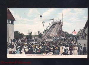 CRESCENT PARK RHODE ISLAND AMUSEMENT PARK HOT AIR BALLOON RIDES OLD POSTCARD
