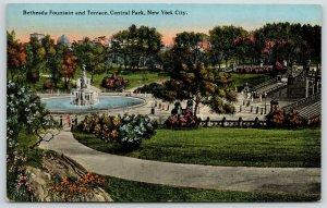New York City~Central Park~Bethesda Fountain & Terrace~c1910 Postcard