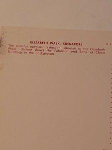 Vintage postcard Elizabeth Walk Singapore Fullerton Bank of China Ocean  735