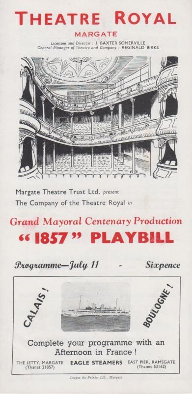 Victorian Play 1857 Playbill Theatre Royal Margate Kent Programme
