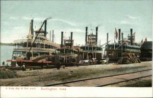 Burlington IA Steamboats Steamer Boats at Wharf c1910 Postcard