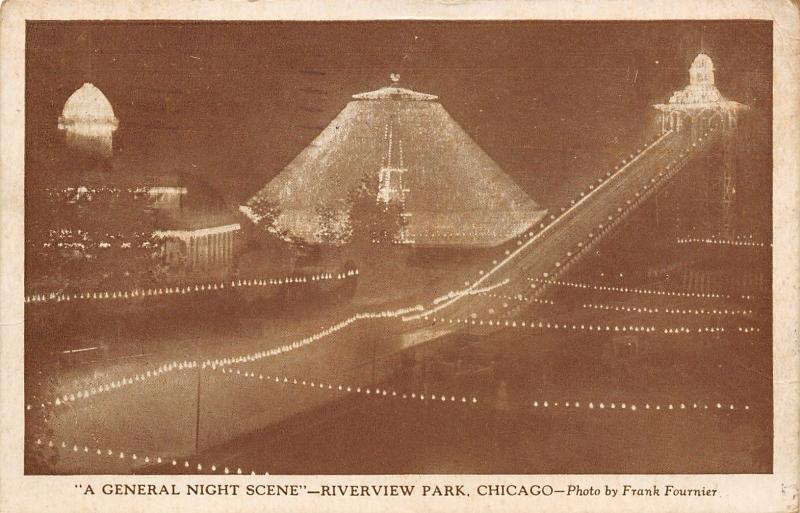 Chicago~Sepia Night View of Riverview Amusement Park~Rides All Lit~Fournier 1929