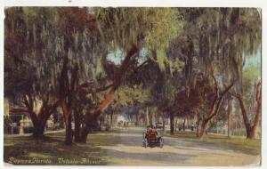 P748 1911 old car, trees etc volusia ave daytona florida