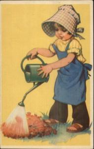 Children in the Garden Girl Watering Can - Nice Color c1930s-40s Postcard