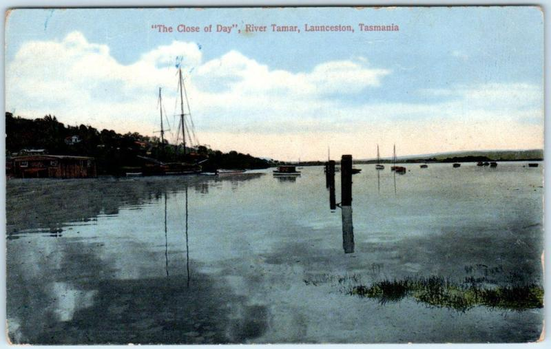 LAUNCESTON, TASMANIA  Australia   The Close of Day RIVER TAMAR  1910s Postcard