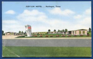 Judy-Lin Motel Harlingen Texas linen postcard
