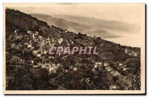 Roquebrune - The Village saw the Grande Corniche - Old Postcard