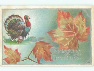 Unused Pre-Linen thanksgiving COLORFUL TURKEY WITH ORANGE AUTUMN LEAVES k8837