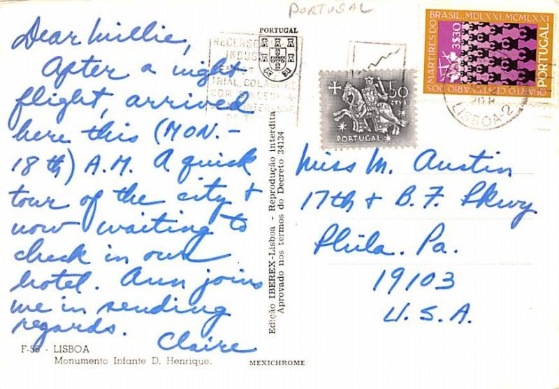 Portugal Old Vintage Antique Post Card Monumento Infane D Henrique Lisboa 1972
