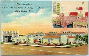 Long Beach, California Postcard CHASE INN MOTEL 101 W. PCH Roadside c1950s Linen