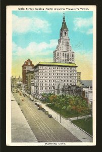 USA Postmark 1935 Hartford Conn Main Street Travelers Tower Postcard
