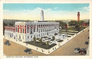 Waterbury Connecticut~Municipal Building & Street Corner View~Vintage Cars~1920s