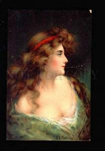028598 Semi-NUDE Lady in Green by COLLINS Vintage colorful PC