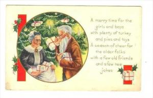 Christmas Greetings : Older Couple With Many Presents, Candles, 1900-1910s