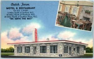 Sanford, NC Linen Postcard DUTCH FARM Hotel & Restaurant Route 1 Roadside c1950s