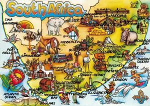 Map Postcard, South Africa, A World of Many Lands, Cape Town, Johannesburg 34S