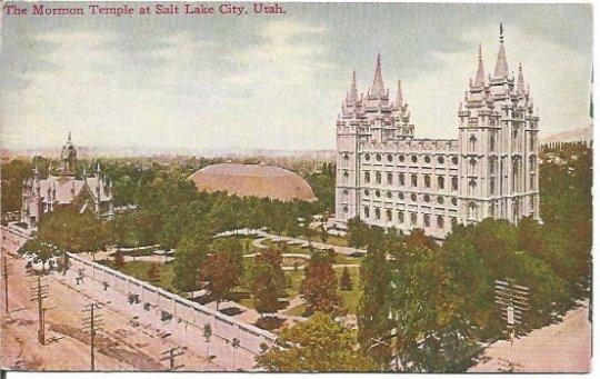 The Mormon Temple at Salt Lake City Utah Early 1900's 1910 Vintage Postcard