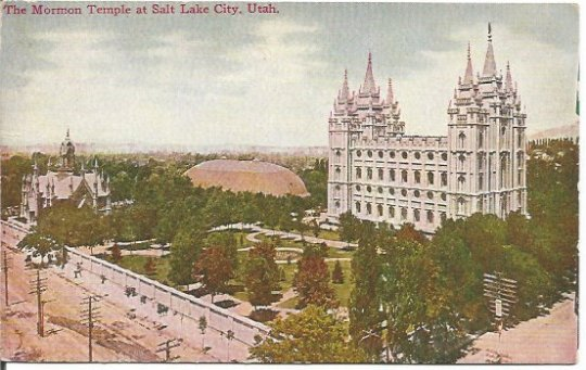 The Mormon Temple at Salt Lake City Utah Early 1900's 1910 Vintage Postcard