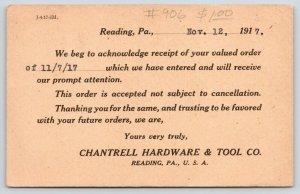 Reading Pennsylvania~Chantrell Hardware & Tool Co~Order Receipt~1917