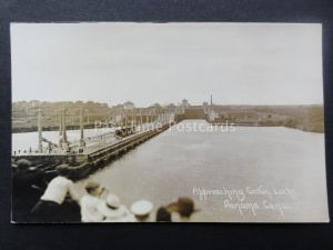 Central America THE PANAMA CANAL Approaching Gatun Locks - Old RP Postcard