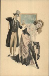 Fancy Man Monocle Ogles Sexy Woman Undressing MM VIENNE #105 Postcard
