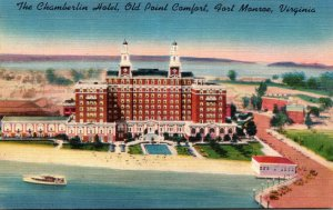 Virginia Old Point Comfort Fort Monroe The Chamberlin Hotel 1953
