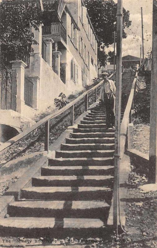 St Thomas Virgin Islands The Ninety and Nine Stairway Antique Postcard J79446
