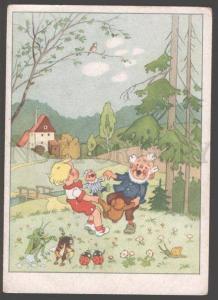 098542 GNOME dance TEDDY BEAR & GRASSHOPPER BEE Musician Old