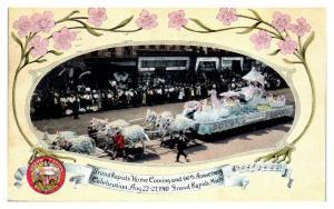 1910 Grand Rapids, MI Home Coming & 60th Anniversary Parade Float Postcard *5L7