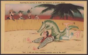 Alligator Wrestler Comic Postcard