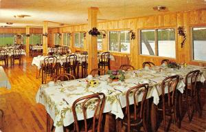 Winter Wisconsin~Barker Lake Lodge & Golf Course~Pine Dining Room~1960s Postcard