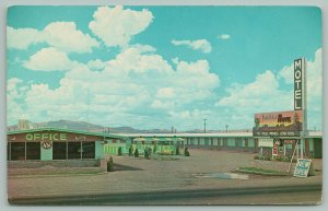 West Edge Deming New Mexico~Plainsman Motel~Pool in Courtyard~Office Left~1950s