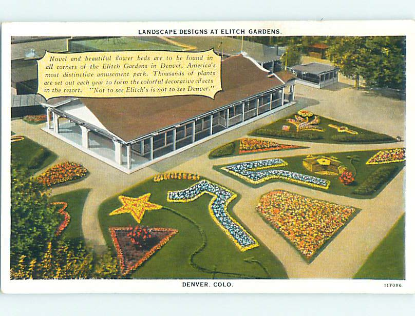Unused W-Border AERIAL VIEW OF BUILDING AT ELITCH GARDENS Denver CO ...