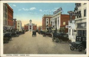 Casper WY Central St. c1920 Postcard CARS & SIGNS