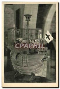 Old Postcard Barcelona Royal Dockyards Museo Maritimo boat