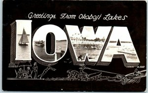 Vintage Greetings from Okoboji Lakes IOWA Large Letter Postcard RPPC 1950s Print