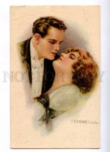 187717 ART DECO Kiss of Lovers by CORBELLA Vintage Italy PC