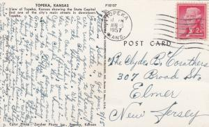 TOPEKA , Kansas , PU-1957 ; A Main St. and State Capitol