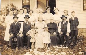 1910s RPPC Real Photo Postcard Family Portrait Men Women Children